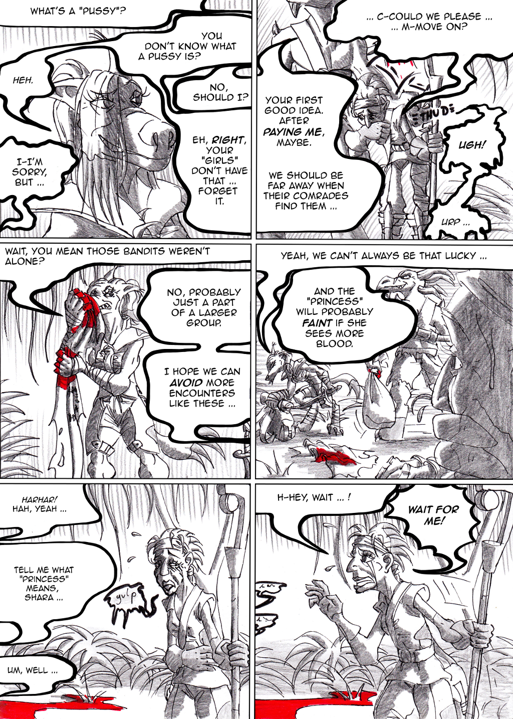 It wasn't really on purpose, but I guess Kshar tried to get the gender article right in panel 4 ...