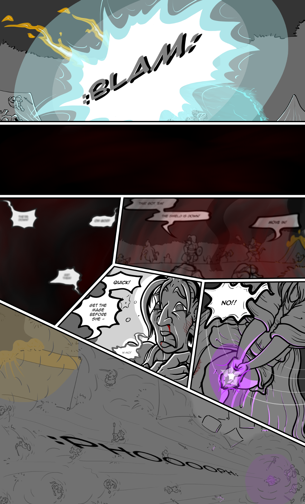 If this were a video game, panels 2 to 4 would be accompanied by the trademark missing ambient sound and loud beeping noise to indicate the stun effect.